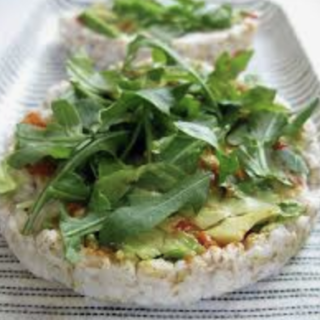 Rice Crackers with Avocado and Greens