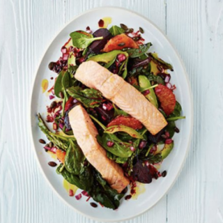 Zesty Salmon with Roasted Beets and Spinach