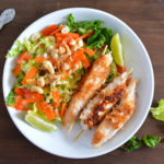 Coconut Chicken Skewers with Asian salad recipe